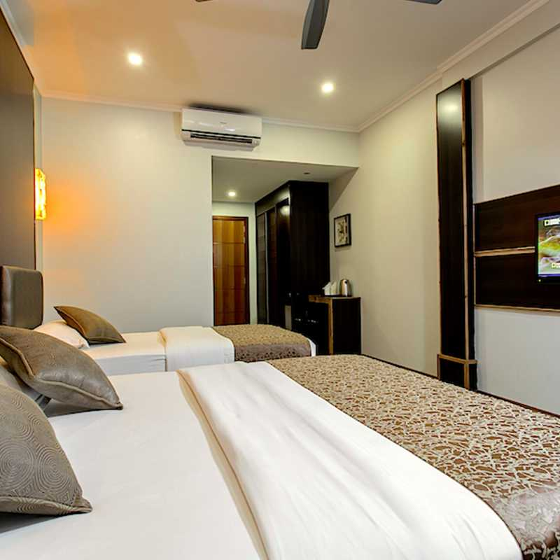 Spacious bedrooms of the hotel