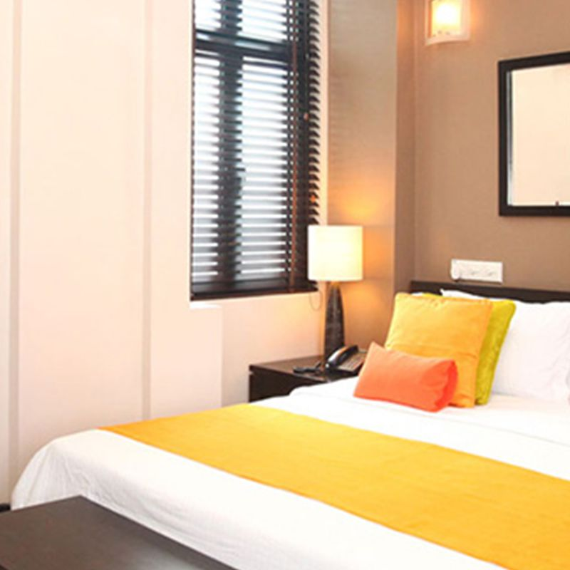 Interior view of the studio suit bed in Maldives to enjoy your vacation