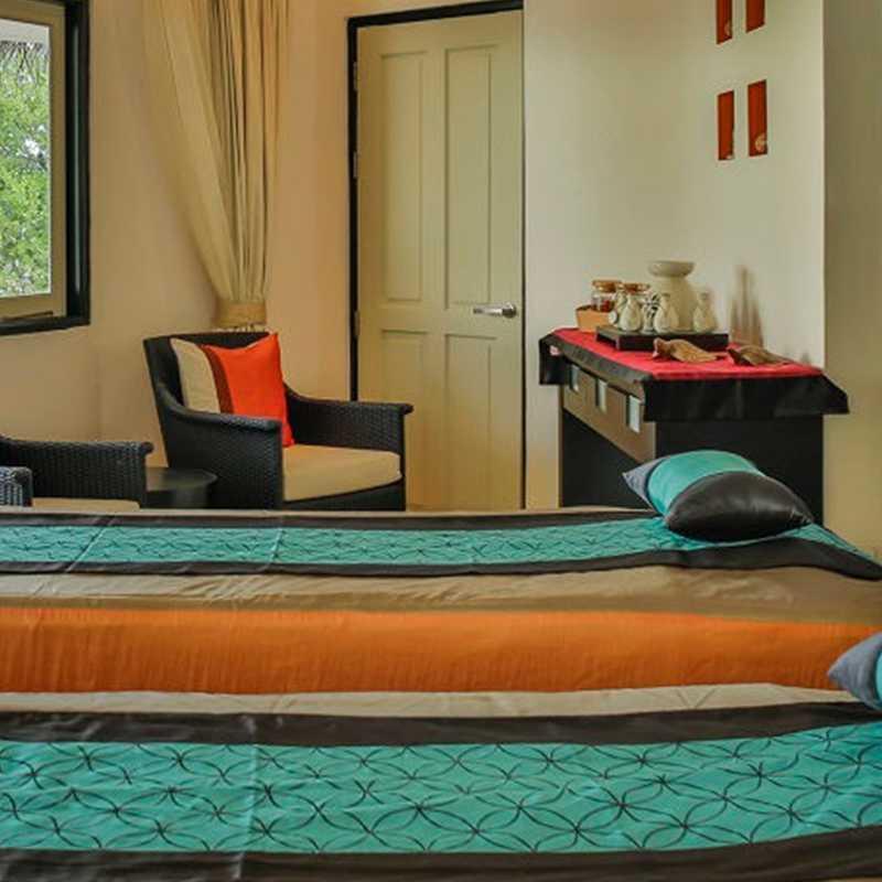Interior views of the Angsana villa in Maldives with modern amenities