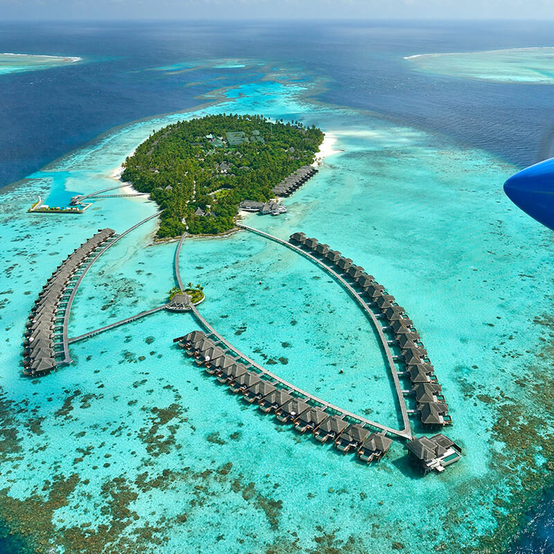 Arial view of the island hotels in Maldives