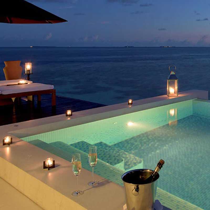 Sunset water villa of the hotel