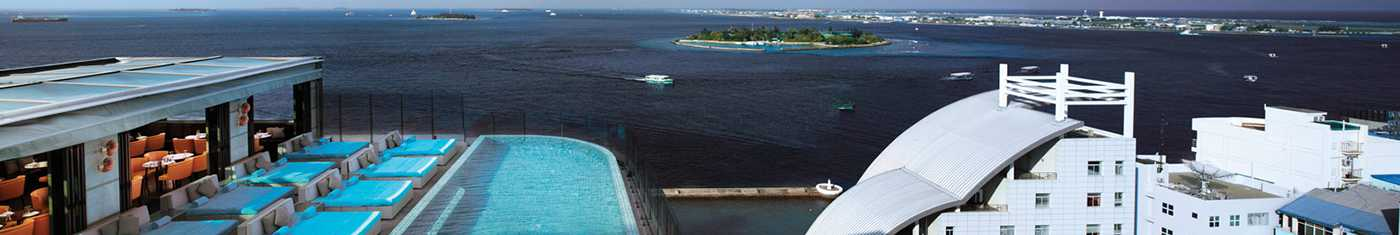 Arial sceneries of the Maldives hotels outdoor pools overlooking the ocean