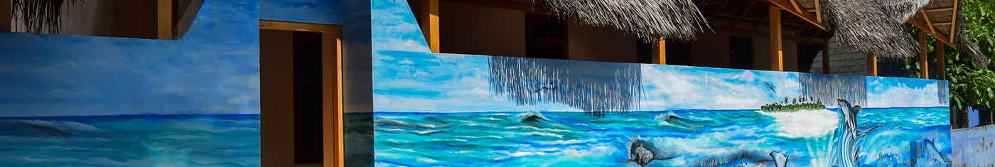 Attractive painting of sea on the resort wall in Maldives