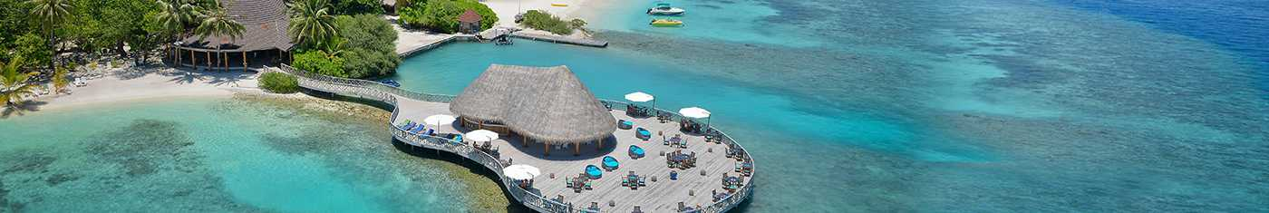 Arial sights of the over water hotel premises in Maldives