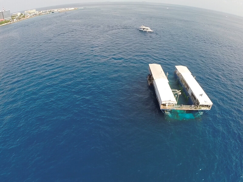 Arial view of the Submarine cruise jetty in Maldives