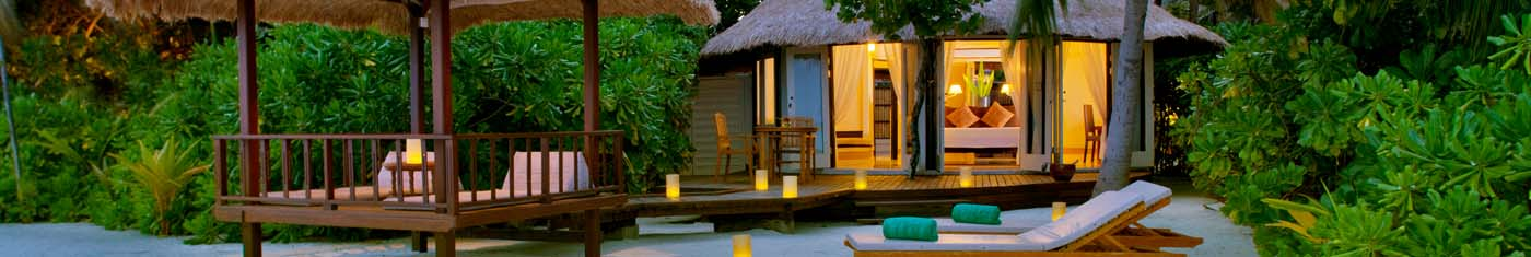Relaxing views of the beach bungalows with comforting amenities in Maldives