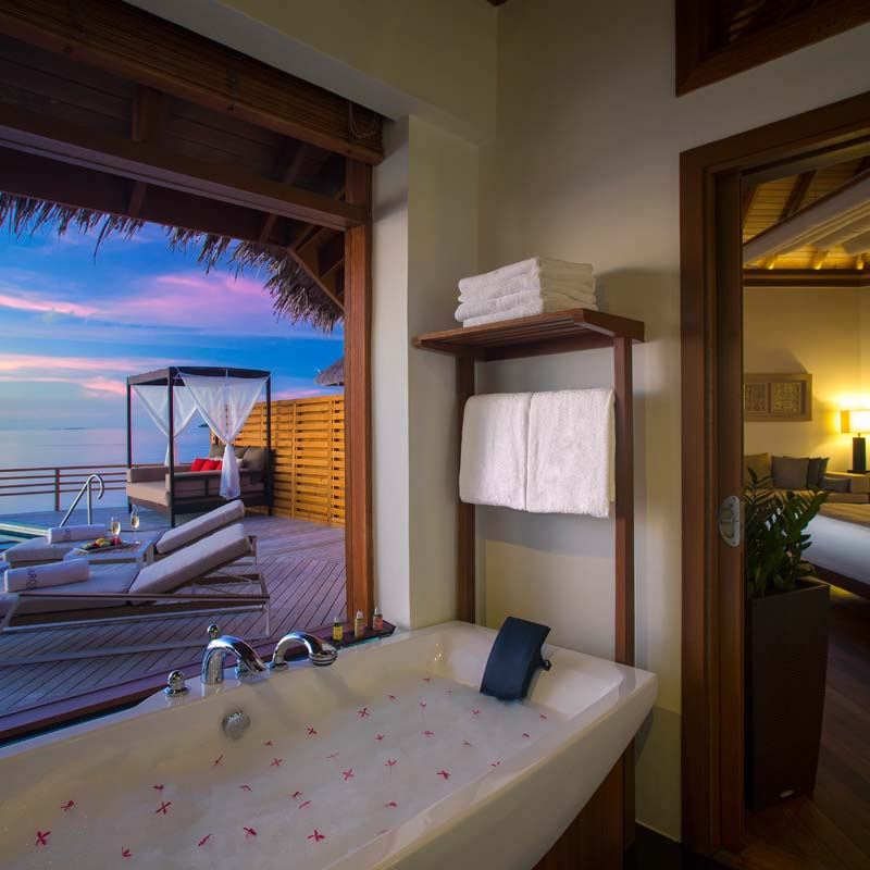 Washrooms with modern amenities of honeymoon suits
