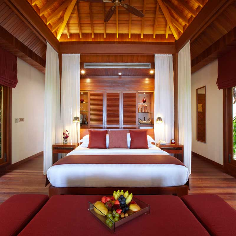 Interior of the specious bedroom in Maldives Resorts