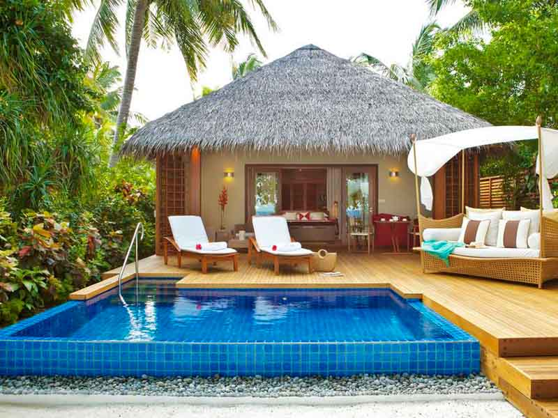 relaxing views of the private cabanas with Swimming pool