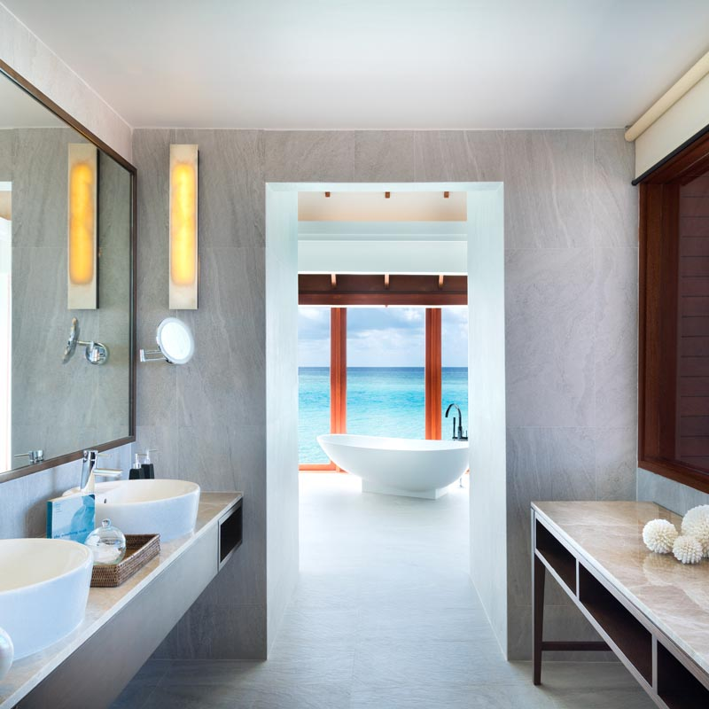 Vibrant interior of the bathroom
