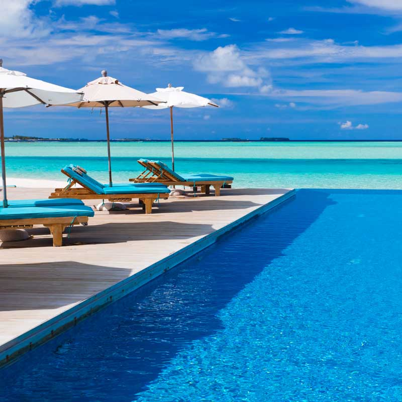 Amazing views of the sea on the sun beds by the pool