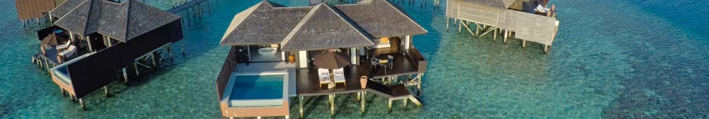 Arial view of ultra luxuries overwater suits in Maldives