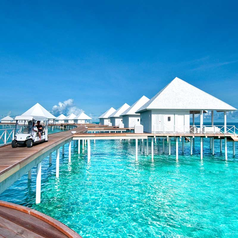 Arial view of the Maldives hotels located overwater and land