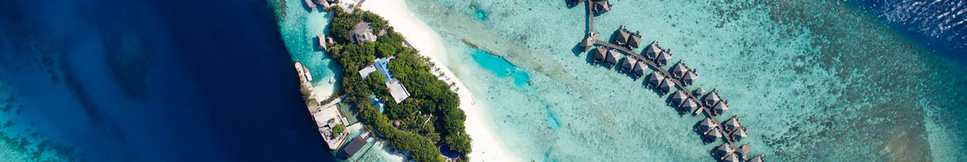 Elegant view of the Maldives hotels in the beach