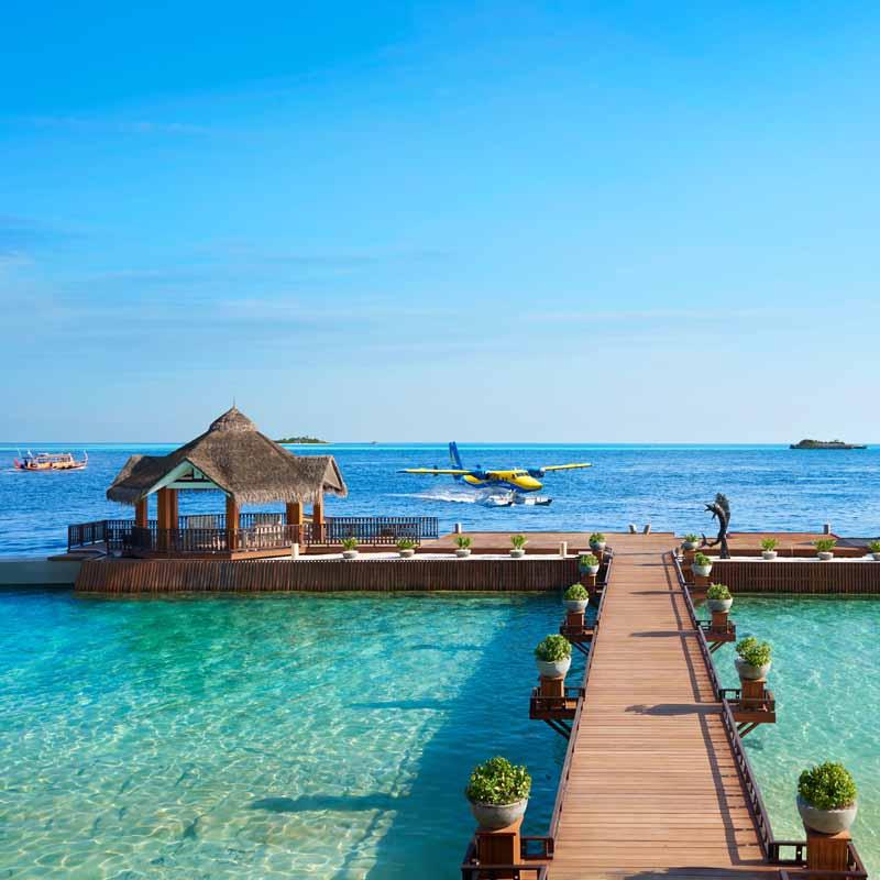 Overwater pathways in Maldives