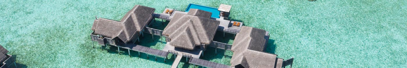 Birdseye view of the over water bungalows at Maldives